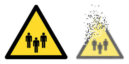 Dispersed pixelated people warning vector icon with wind effect, and original vector image. Pixel dissolution effect for people warning shows speed and motion of cyberspace things. 向量圖像