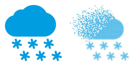 Dispersed pixelated snow weather vector icon with destruction effect, and original vector image. Pixel destruction effect for snow weather demonstrates speed and movement of cyberspace objects.