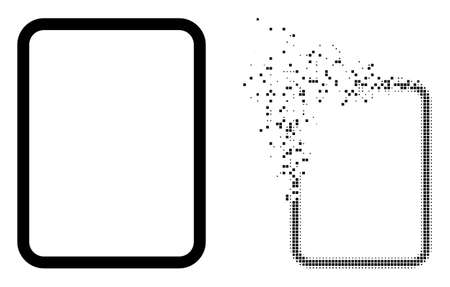 Dispersed dot empty page vector icon with wind effect, and original vector image. Pixel dissipation effect for empty page demonstrates speed and motion of cyberspace items. 矢量图像