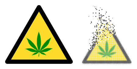 Fractured dotted cannabis warning vector icon with wind effect, and original vector image. Pixel disappearing effect for cannabis warning demonstrates speed and movement of cyberspace things.