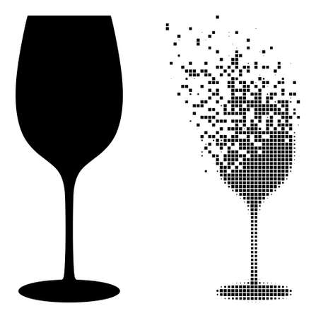 Dispersed dotted wine glass vector icon with destruction effect, and original vector image. Pixel dissipating effect for wine glass shows speed and movement of cyberspace matter.