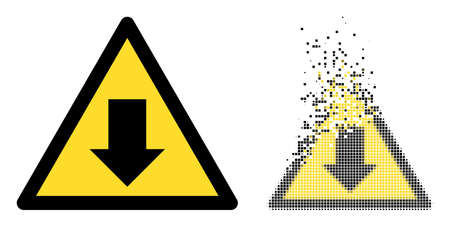 Dispersed dot drop down warning vector icon with destruction effect, and original vector image. Pixel dissolution effect for drop down warning shows speed and motion of cyberspace items. 矢量图像