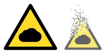 Dissolved pixelated fog warning vector icon with wind effect, and original vector image. Pixel degradation effect for fog warning shows speed and motion of cyberspace objects. 矢量图像
