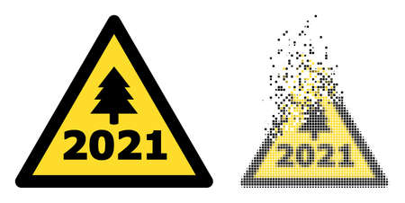 Dispersed dotted 2021 new year warning vector icon with destruction effect, and original vector image.