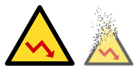 Dispersed dot recession warning vector icon with wind effect, and original vector image. Pixel mist effect for recession warning shows speed and motion of cyberspace abstractions.