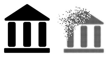 Dispersed dotted library building vector icon with destruction effect, and original vector image. Pixel disappearing effect for library building demonstrates speed and movement of cyberspace concepts.
