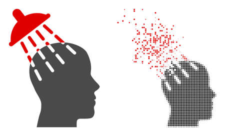 Dispersed dotted brainwashing vector icon with wind effect, and original vector image. Pixel dispersing effect for brainwashing demonstrates speed and movement of cyberspace objects.