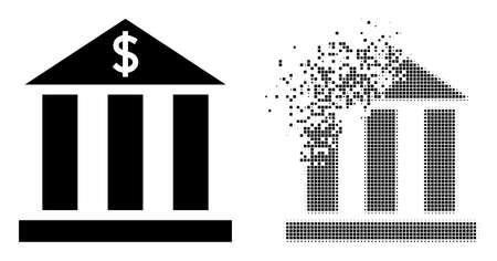 Dispersed pixelated dollar bank vector icon with destruction effect, and original vector image. Pixel erosion effect for dollar bank demonstrates speed and motion of cyberspace things. 矢量图像