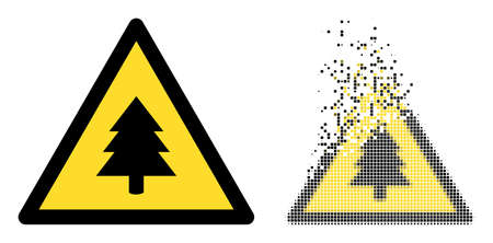 Dispersed dotted fir-tree warning vector icon with wind effect, and original vector image. Pixel dispersing effect for fir-tree warning shows speed and motion of cyberspace matter. 矢量图像