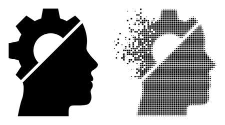 Dispersed pixelated cyborg gear vector icon with wind effect, and original vector image. Pixel degradation effect for cyborg gear demonstrates speed and movement of cyberspace items.