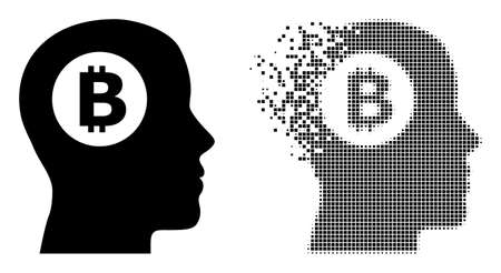 Dispersed dotted bitcoin thinking vector icon with destruction effect, and original vector image. Pixel abrasion effect for bitcoin thinking shows speed and motion of cyberspace things.