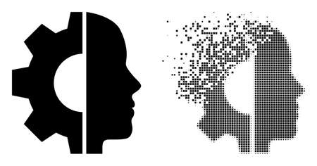 Dispersed pixelated cyborg head vector icon with destruction effect, and original vector image. Pixel dematerialization effect for cyborg head demonstrates speed and movement of cyberspace things.
