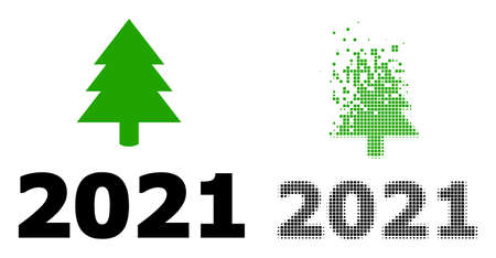 Dispersed pixelated 2021 fir tree vector icon with destruction effect, and original vector image. Pixel disappearing effect for 2021 fir tree demonstrates speed and movement of cyberspace concepts.