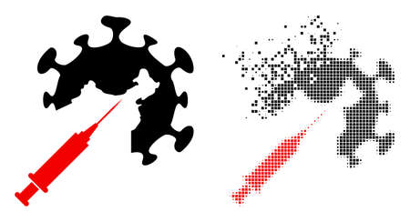 Fractured dot coronavirus vaccine injection vector icon with wind effect, and original vector image.