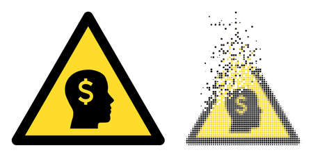 Dissolved pixelated banker warning vector icon with destruction effect, and original vector image. Pixel destruction effect for banker warning shows speed and movement of cyberspace abstractions.