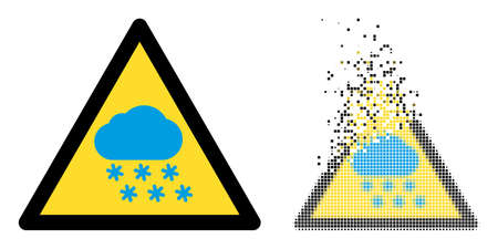 Dispersed dotted snow weather warning vector icon with wind effect, and original vector image. Pixel dissipating effect for snow weather warning demonstrates speed and movement of cyberspace matter.