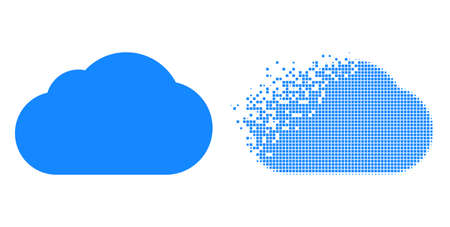 Dissolved dotted cloud vector icon with wind effect, and original vector image. Pixel erosion effect for cloud demonstrates speed and motion of cyberspace items.