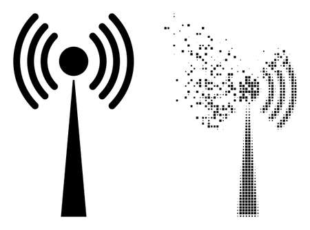 Dispersed dotted radio tower vector icon with wind effect, and original vector image. Pixel mist effect for radio tower shows speed and motion of cyberspace items. 矢量图像