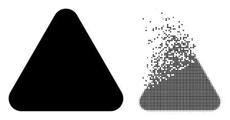 Fractured dot rounded triangle vector icon with wind effect, and original vector image. Pixel dust effect for rounded triangle demonstrates speed and motion of cyberspace objects.