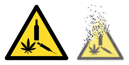 Dispersed dotted narcotic drugs warning vector icon with destruction effect, and original vector image. 矢量图像