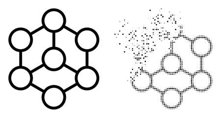 Fractured pixelated blockchain vector icon with destruction effect, and original vector image. Pixel destruction effect for blockchain shows speed and movement of cyberspace items.