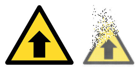 Dissolved dot up direction warning vector icon with destruction effect, and original vector image. Pixel dispersing effect for up direction warning shows speed and movement of cyberspace matter.