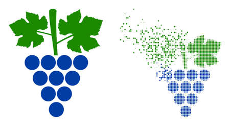 Dispersed dot grapes bunch vector icon with wind effect, and original vector image. Pixel abrasion effect for grapes bunch demonstrates speed and movement of cyberspace matter.