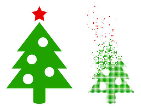 Dispersed pixelated new year tree vector icon with wind effect, and original vector image. Pixel abrasion effect for new year tree demonstrates speed and motion of cyberspace objects.