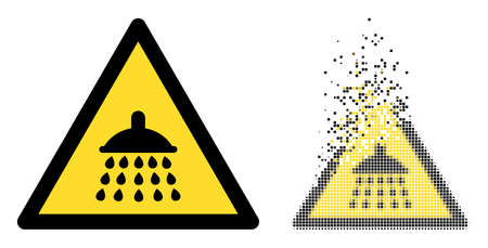 Dispersed dot shower warning vector icon with destruction effect, and original vector image. Pixel disintegration effect for shower warning shows speed and movement of cyberspace concepts.