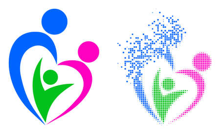 Dispersed pixelated familty care vector icon with destruction effect, and original vector image. Pixel erosion effect for familty care shows speed and motion of cyberspace concepts.