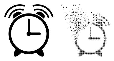 Fractured dotted alarm clock vector icon with wind effect, and original vector image. Pixel disappearing effect for alarm clock shows speed and movement of cyberspace objects.