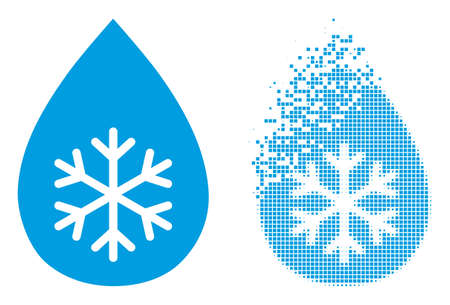 Dissolved pixelated snow fresh drop vector icon with destruction effect, and original vector image. 矢量图像