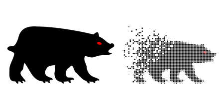 Fractured dot bear vector icon with destruction effect, and original vector image. Pixel destruction effect for bear shows speed and movement of cyberspace items.