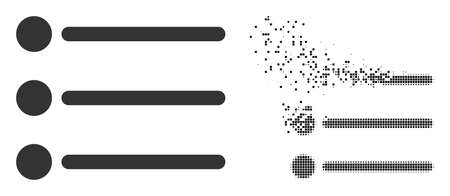 Dissolved dotted list items vector icon with wind effect, and original vector image. Pixel burst effect for list items shows speed and motion of cyberspace abstractions. 矢量图像