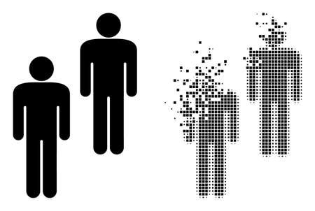 Dispersed pixelated people vector icon with wind effect, and original vector image. Pixel burst effect for people shows speed and motion of cyberspace items. 矢量图像