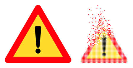 Dispersed dot exclamation alert vector icon with wind effect, and original vector image. Pixel degradation effect for exclamation alert demonstrates speed and motion of cyberspace concepts.