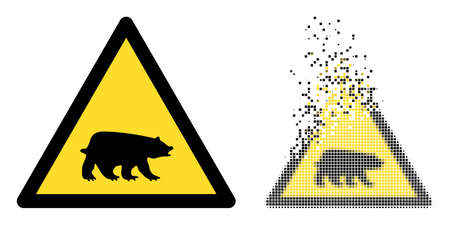 Dispersed dotted bear warning vector icon with destruction effect, and original vector image. Pixel dissipating effect for bear warning demonstrates speed and motion of cyberspace things.