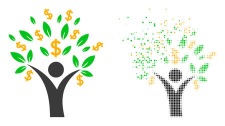 Dispersed dot money tree man vector icon with wind effect, and original vector image. Pixel dematerialization effect for money tree man shows speed and movement of cyberspace things. 矢量图像
