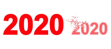 Dispersed dot 2020 year digits vector icon with destruction effect, and original vector image. Pixel dissipation effect for 2020 year digits demonstrates speed and motion of cyberspace abstractions. 矢量图像