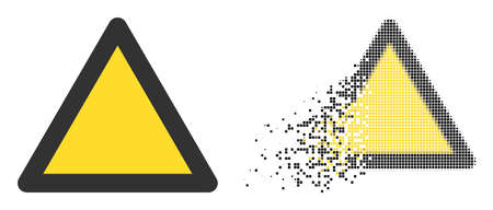 Fractured pixelated warning triangle vector icon with destruction effect, and original vector image. Pixel abrasion effect for warning triangle shows speed and movement of cyberspace items.