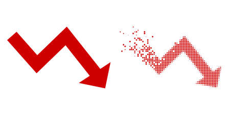 Dispersed pixelated recession arrow vector icon with wind effect, and original vector image. Pixel dissolving effect for recession arrow shows speed and movement of cyberspace matter.