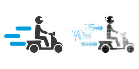 Dispersed dot fast motorbike vector icon with destruction effect, and original vector image. Pixel destruction effect for fast motorbike demonstrates speed and motion of cyberspace abstractions.