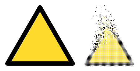 Dispersed pixelated warning triangle template vector icon with wind effect, and original vector image. 矢量图像