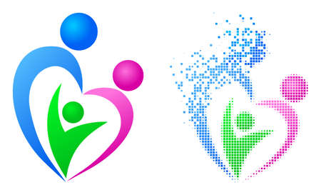 Dispersed dotted family vector icon with wind effect, and original vector image. Pixel degradation effect for family demonstrates speed and motion of cyberspace concepts. 矢量图像
