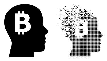 Dispersed dot bitcoin imagination vector icon with destruction effect, and original vector image. Pixel disintegration effect for bitcoin imagination shows speed and movement of cyberspace concepts.