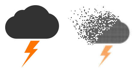 Dispersed dot thunderstorm vector icon with wind effect, and original vector image. Pixel transformation effect for thunderstorm demonstrates speed and movement of cyberspace matter.