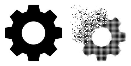 Fractured dotted gear vector icon with destruction effect, and original vector image. Pixel dissipating effect for gear shows speed and motion of cyberspace matter. 矢量图像