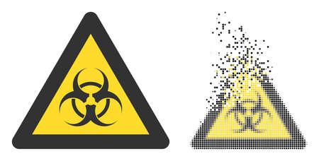Fractured pixelated biohazard warning vector icon with destruction effect, and original vector image. Pixel dissolving effect for biohazard warning demonstrates speed and motion of cyberspace items.