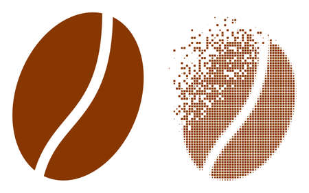 Dissolved pixelated coffee bean vector icon with destruction effect, and original vector image. Pixel destruction effect for coffee bean demonstrates speed and movement of cyberspace things.