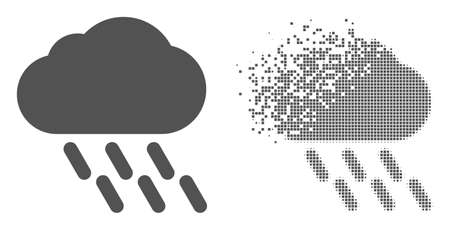 Fractured pixelated rain vector icon with destruction effect, and original vector image. Pixel disintegration effect for rain shows speed and movement of cyberspace abstractions.